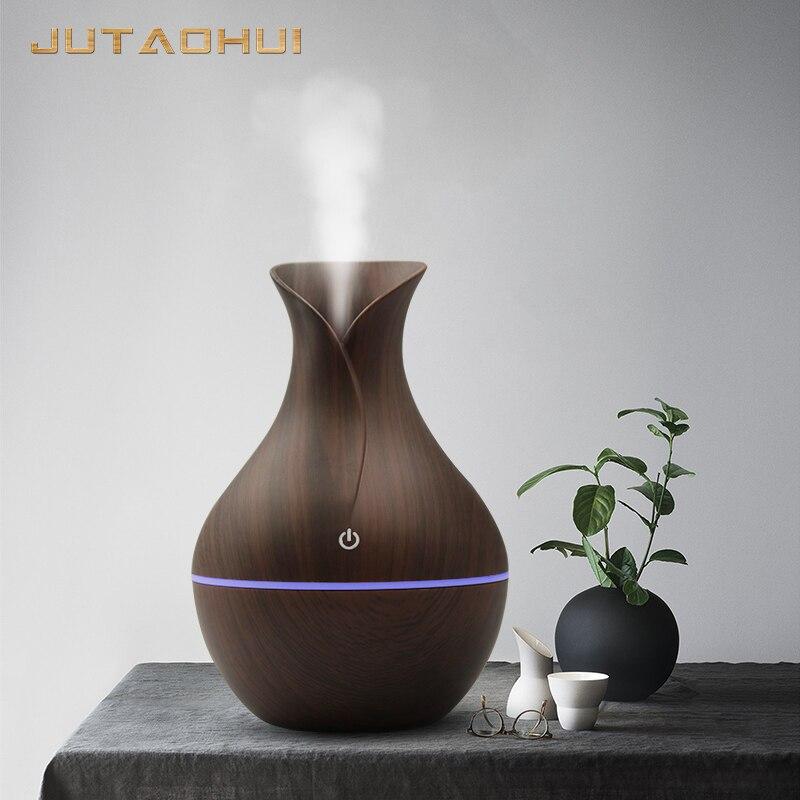 Mini usb 130 ml humidificateur d'air Grain de bois arôme Diffuse bureau Humidificador décoration huile essentielle brumisateur lumière LED pour la maison