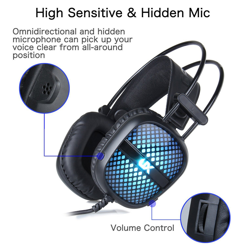 Gaming Headphones 3.5mm USB Wired LED Light Stereo Headphone With Mic For PC Futural Digital Drop Shipping AUGG11 each g1100 shake e sports gaming mic led light headset headphone casque with 7 1 heavy bass surround sound for pc gamer