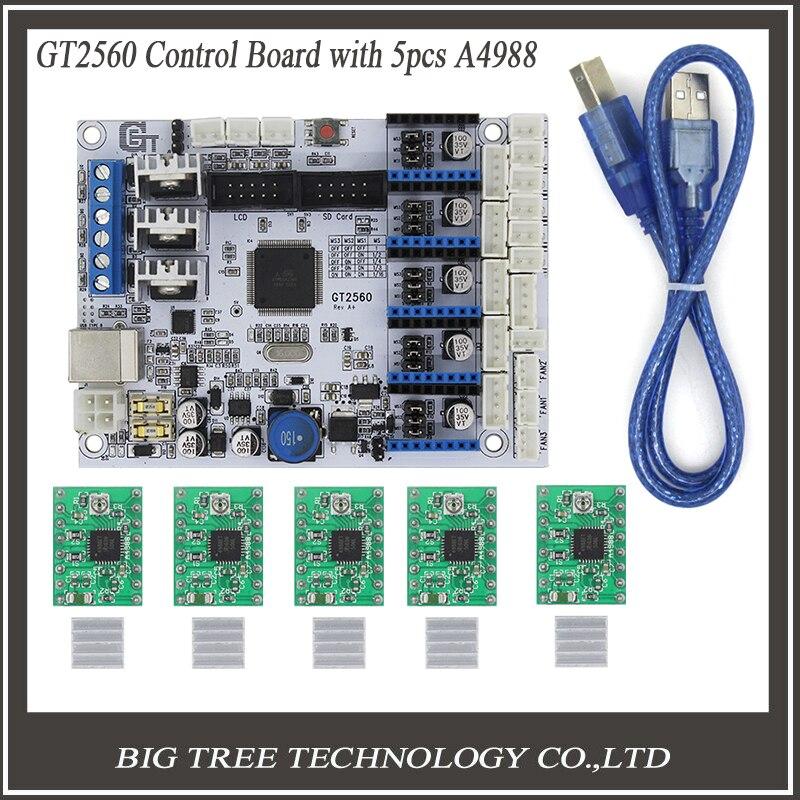 купить 3D Printer Control Board GT2560 Support Dual Extruder Power Than ATmega2560 Ultimaker + 5PCS A4988 + 5PCS Heatsinks по цене 2866.09 рублей