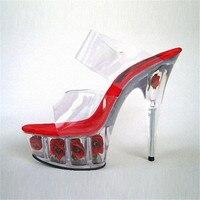 Sexy Kristall Rose Die Braut Hochzeit Schuhe Performance Schuhe 15 Schuhe Mit Hohen Absätzen 6 Inch Partei Spezielle Stripper Sandalen