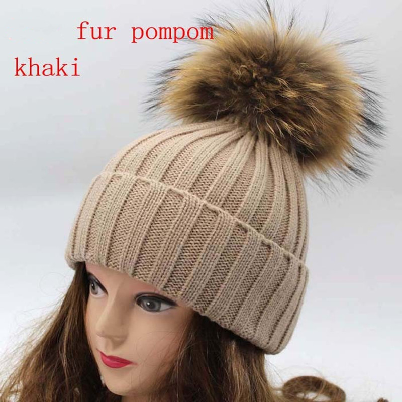 Aliexpress.com   Buy Real Racoon Fur Pom Pom Winter Hats Wool Knit Winter  Bobble hat cap Beanie Hat With Fur Pompom For Women Gift Skullies Caps from  ... 373e9fc8377