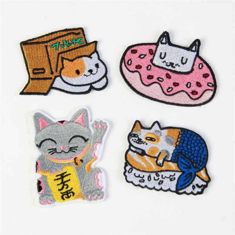 DoreenBeads Cute Cats Embroidery Patch T Shirt Press Sticker Washable Iron On Transfers Patches for Kids Girl Dress Hoodies Coat