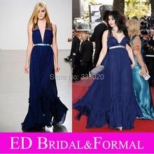 Haifa Wehbe 2009 Cannes Festival Roten Teppich Kleid A Line Sheer Strap Royal Blue Chiffon Abendkleid Promi Abendkleid