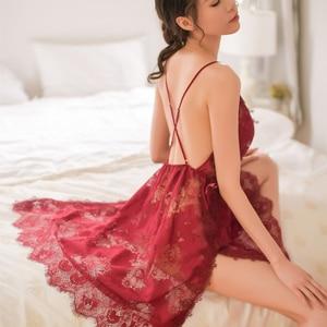 Image 4 - 7 צבעים נשים כותונת פיתוי צד פיצול כתונת לילה סקסי הלבשה תחתונה ביריות Sheer תחרה רקמת לילה שינה שמלה
