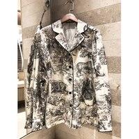 Качество Женская 2019 сезон: весна лето лес Тотем с принтом, повседнедневые, свободные шелковая рубашка топ с длинными рукавами пижамы стиль