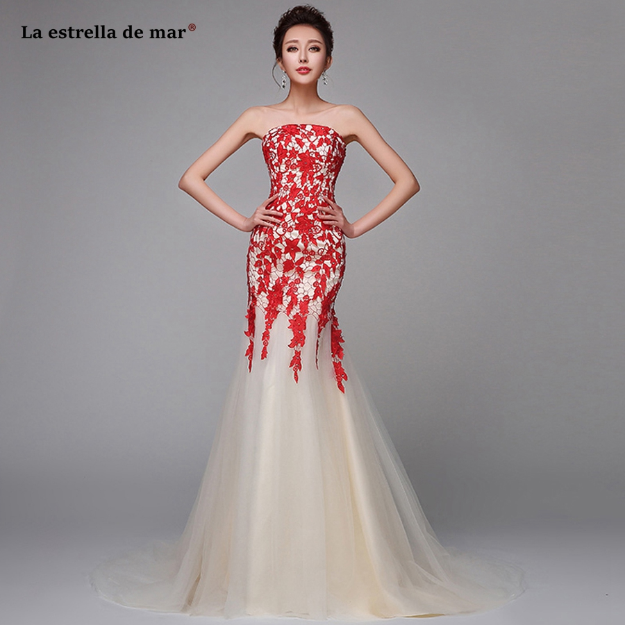Robe demoiselle d'honneur pour femme2019 new lace Strapless red sexy mermaid   bridesmaid     dress   long African vestido madrinha