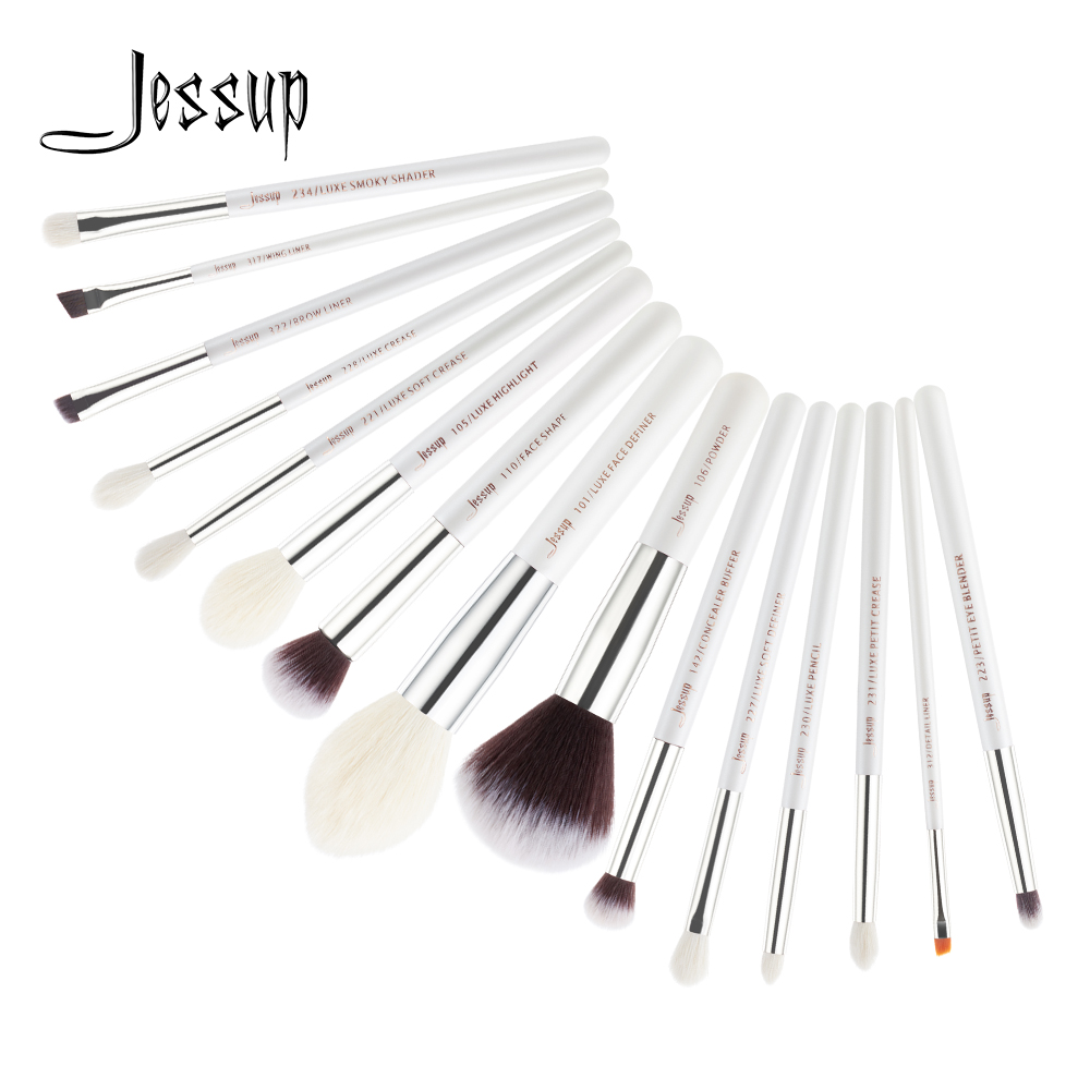 Jessup Brushes 15pcs Makeup Brush Set Pearl White / Silver Professionele Eyeshadow Foundation Definer Powder Makeup Brushes T242