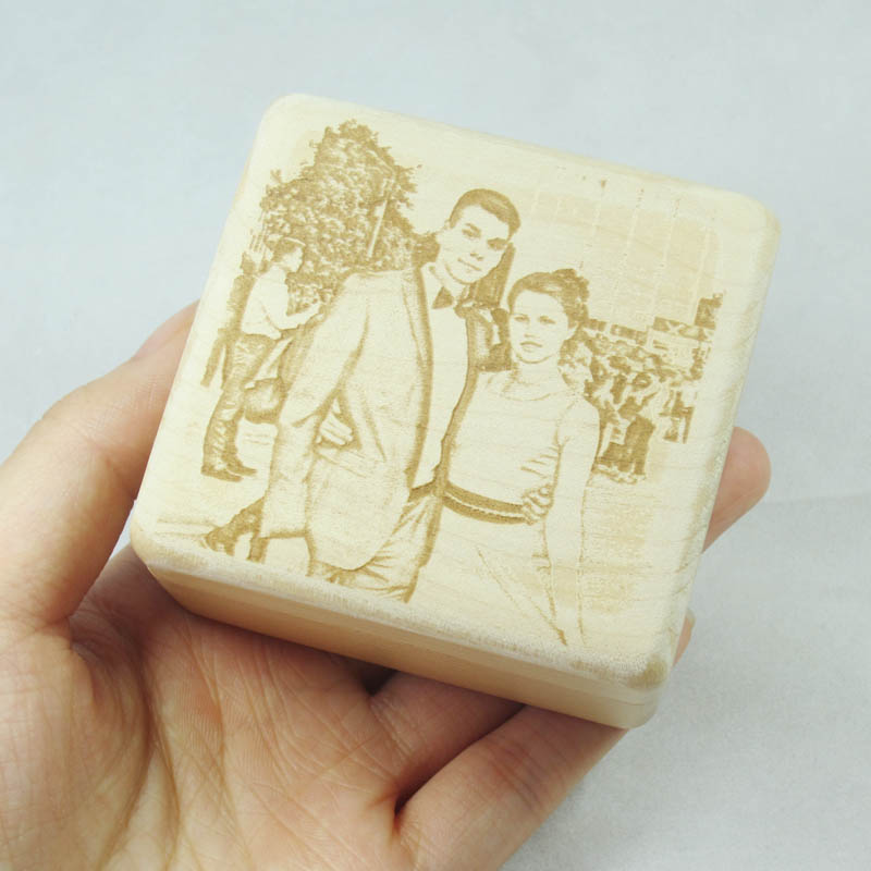 Customized photo engraved ring box mini wood jewelry box propose marriage gifts wedding ring box