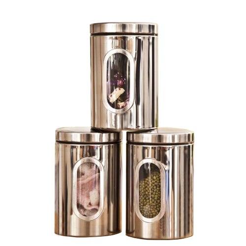 3pcs Stainless Steel Window Canister Tea Coffee Sugar Nuts Jar Storage Set Silver