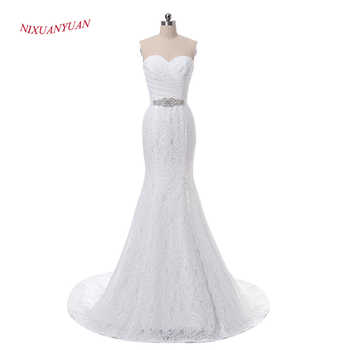 NIXUANYUAN Elegant Ivory White Lace Beach Wedding Dress 2017 Sexy Side Split Bridal Gown Vintage Mermaid Wedding Dress With Belt - DISCOUNT ITEM  0% OFF All Category