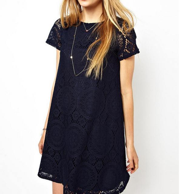 Femme Fatale! Short Sleeves Hollow Out Lace Sexy Dress