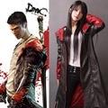 DMC Devil May Cry Dante Cosplay Traje de Chaqueta 5 de LA PU Abrigo de Cuero Trinchera Uniforme de Halloween Para Mujer Hombre