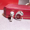 Designer de Moda 925 Prata Esterlina Jóias de Platina/Rosa Banhado A Ouro 3A Cubic Zirconia Partido Anel Pantera