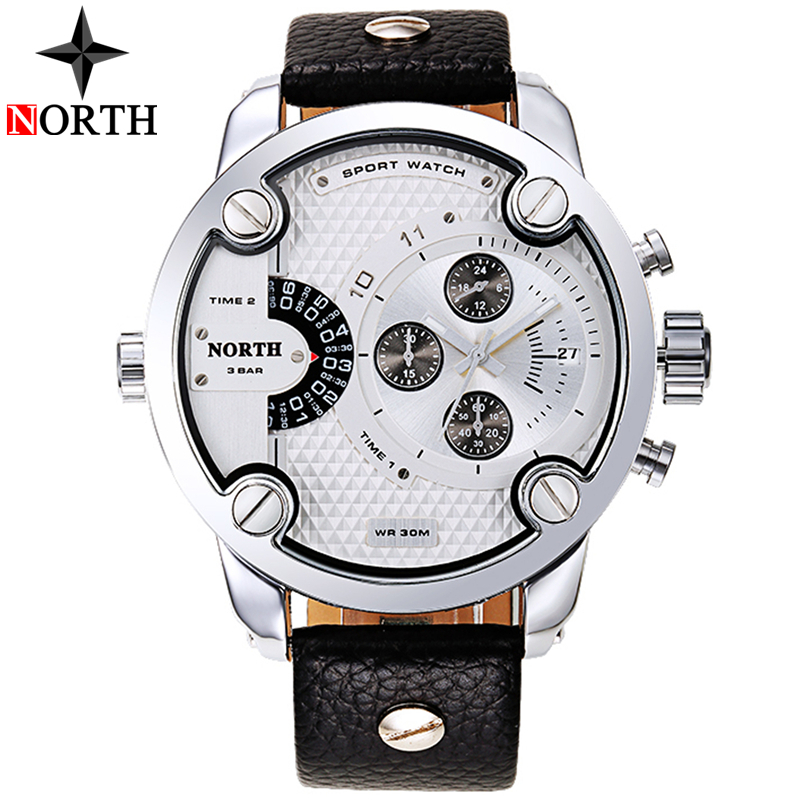 North Mens Watches Top Brand Luxury Military Watches Men Leather Casual Quartz Watch Waterproof Sport Watch Relogio Masculino smael mens watches top brand luxury casual quartz watch men waterproof shock sport led digital watches men relogio masculino