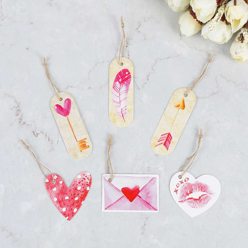 50pcs DIY Label Handmade Garment Tags Flower heart Paper Tags Party Decoration Gift Paper Hang Tags Gift Box Round Paper Cards