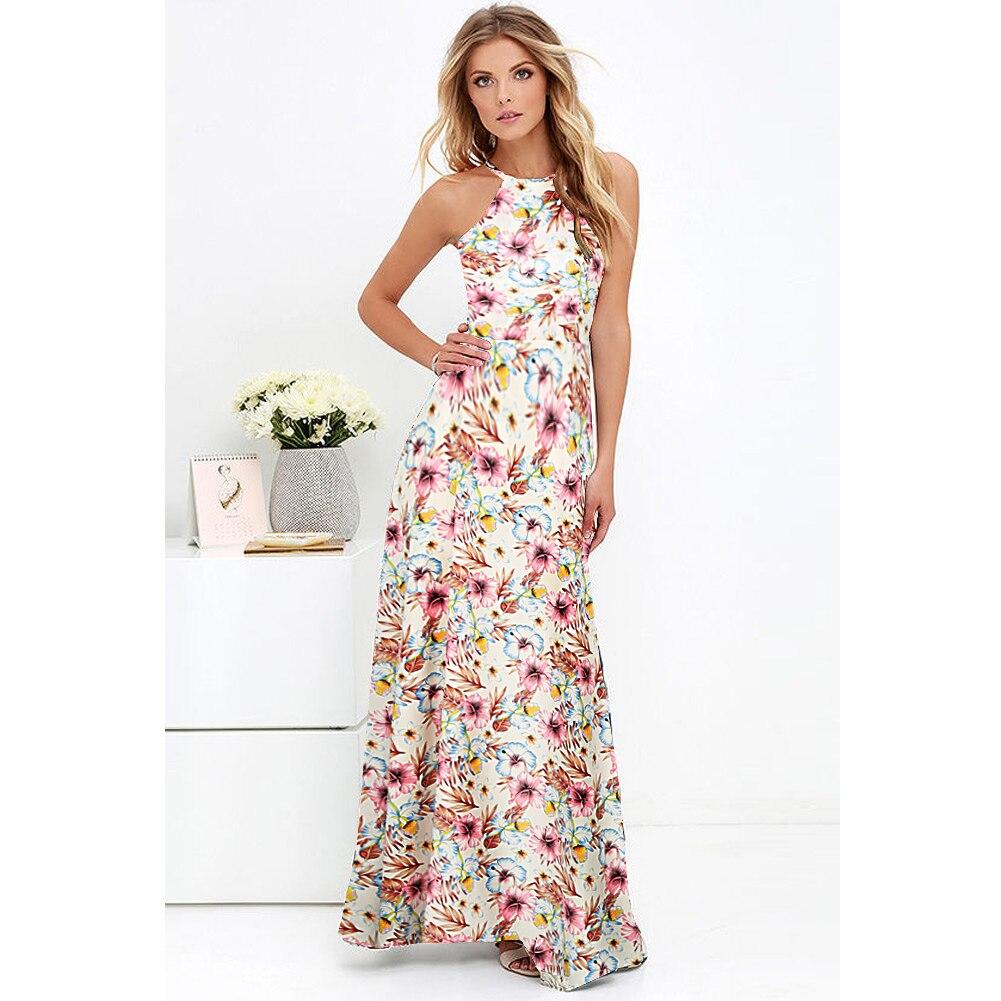 9e62a60443 Kobiece sexy kobiet Maxi boho sukienka sukienka halter kołnierz ...