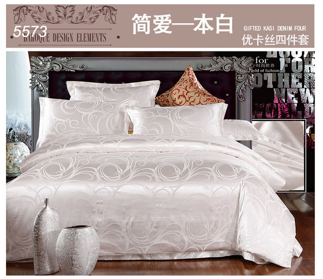 Ordinaire White Satin Bedding Set Tribute Silk Bed Linens European Round Corner  Cotton Bed Sheet AB Side