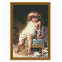 Lovely baby girl,14CT Canvas Needlework Cross stitch DMC Stylish for Embroidery kits,Kid Patterns Cross-Stitching,DIY Handmade