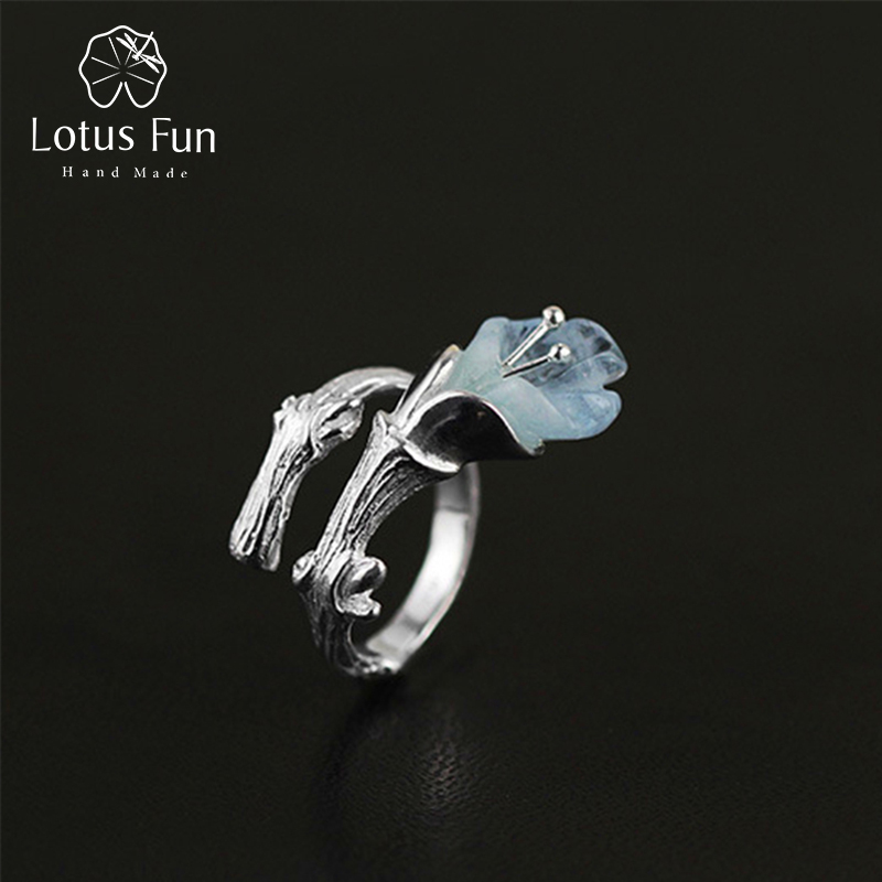 Lotus Fun Real 925 Sterling Silver Natural Stone Creative Handmade Designer Fine Jewelry Gracious Magnolia Female Rings Bijoux