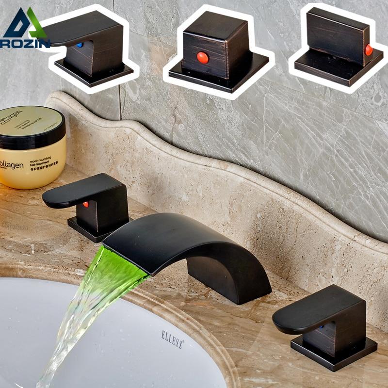 LED 3 Light RGB Bathroom Waterfall Spout Basin Faucet Two Handles 3 Holes Widespread Bath Tub Sink Taps