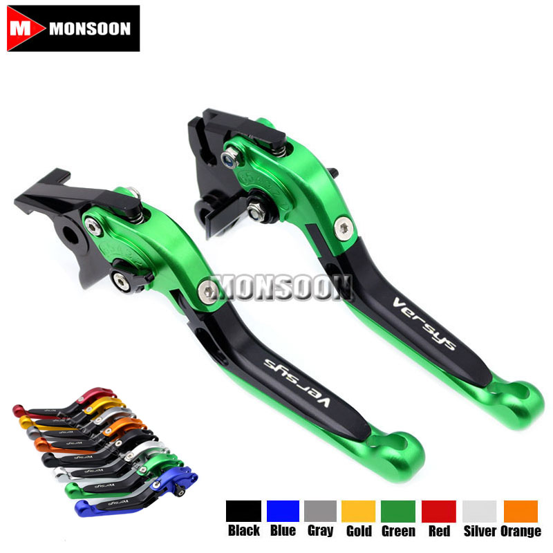 LOGO Versys For KAWASAKI VERSYS 650 2009-2014 2010 2011 2012 2013 Motorcycle Folding Extendable Brake Clutch Levers Green 9 color motorcycle cnc brake clutch levers blade for honda cb1100 gio special 2013 2014 2015 cbf1000 a 2010 2011 2012 2013