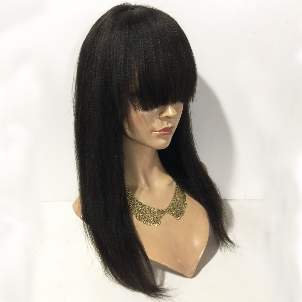 Eversilky Yaki Straight Wig 360 Lace Frontal Human Hair Wigs With Bangs For Women Peruvian Kinky Straight Remy Hair Fringe Wig