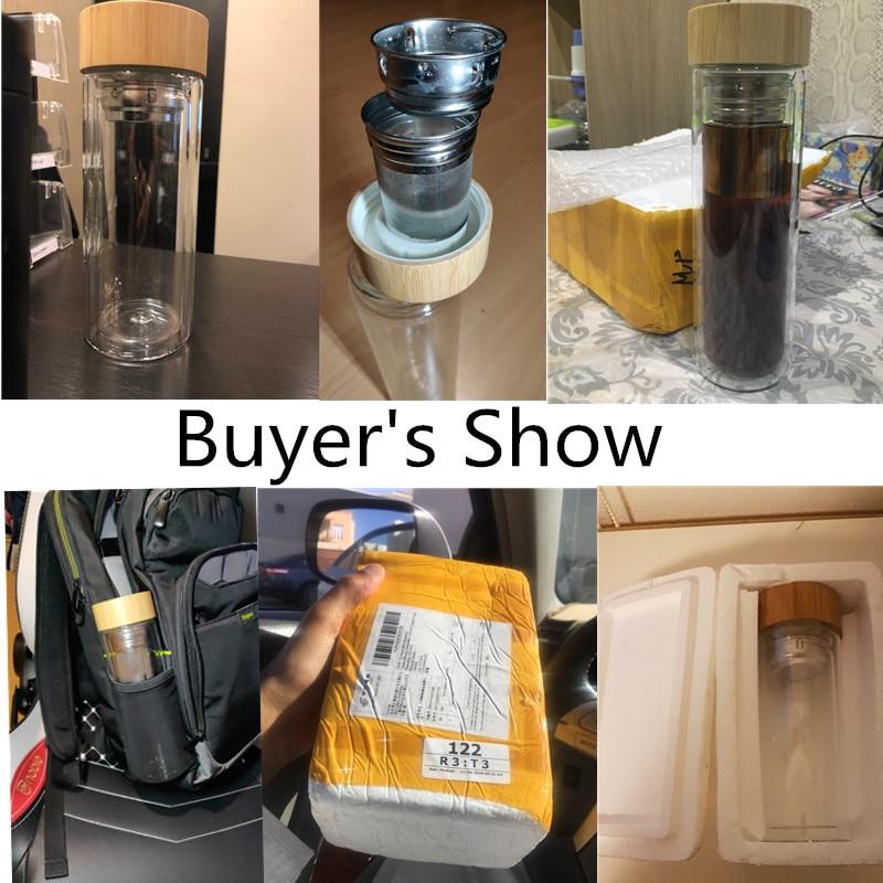 Image 5 - Tea Bottle Glass Bottled Water Bottle Infuser With Filter Strainer Borosilica Double Wall Drink Bamboo Lid 450ml Car DrinkwareWater Bottles   -