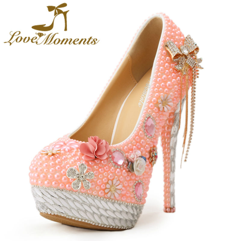 Love Moments Pink Color Women Pumps Pearl Rhinestone Bow Wedding Shoes Bridal High Heels Handmade Crystal Platform Prom Pumps