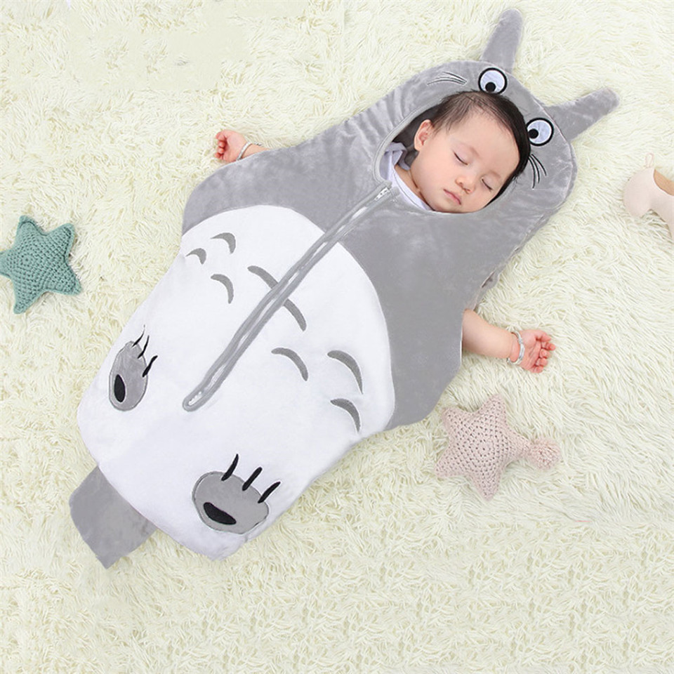 Newborn Cartoon Totoro Sleeping Bags Newborn Baby Carriage Bedding Warm Pretty Sleep Sack Autumn And Winter Holding Kick-proof