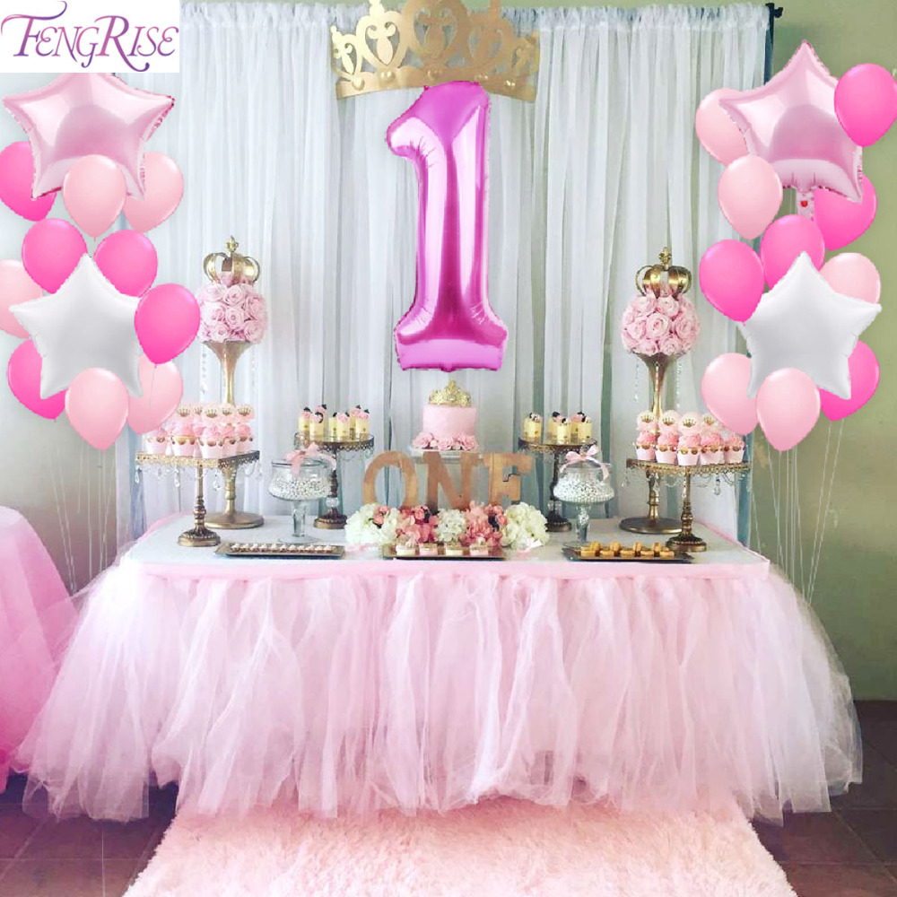 Fengrise 1st Birthday Party Decoration Diy 40inch Number 1 First Balloon Foil Balloons Baby