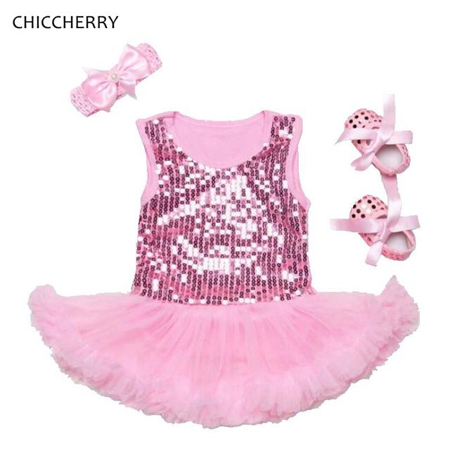 Brillante Vestido de Lentejuelas Pink Lace Petti Del Mameluco Diadema Zapatos Del Pesebre Tutú Recién Nacido Establece Ropa de Bebé Niña Ropa Infantil Roupa Bebe