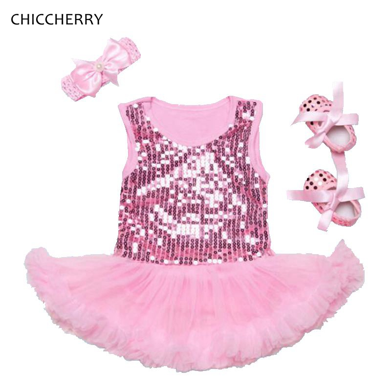 Brilliant Sequin Pink Lace Petti Romper Dress Headband Crib Shoes Newborn Tutu Sets Baby Girl Clothes Infant Clothing Roupa Bebe