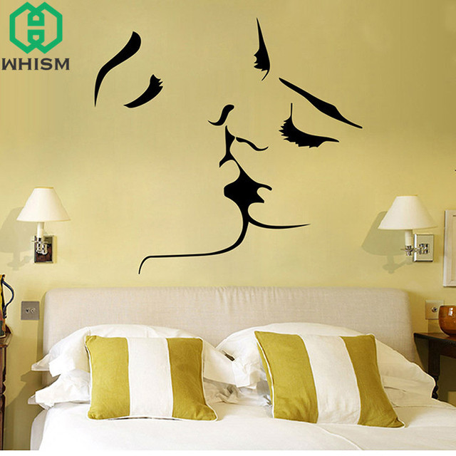 WHISM DIY Removable PVC Wall Stickers Couple Kissing Wall Decal ...
