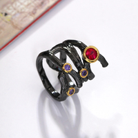 Original Design AAA Ruby And Amethyst Stones Branch Design Black And Gold Plate High Grade Rings