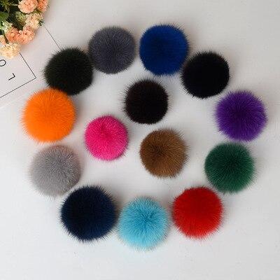 1 piece 8cm Natural Real Fox Fur Ball Pom Poms Fluffy Fur Pompom DIY Women Kids Winter Hat Skullies Beanies Knitted Cap R12A