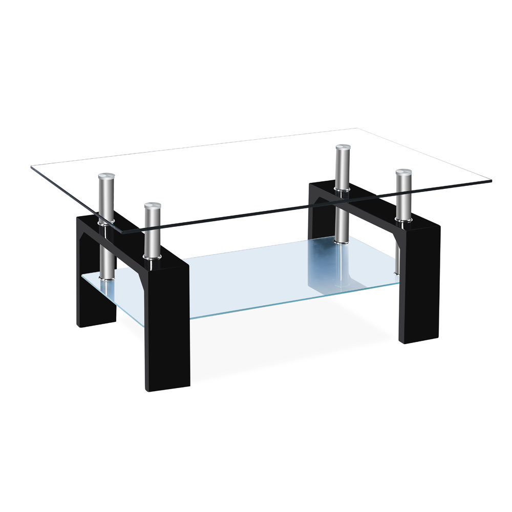 Clear Glass Coffee Table Rectangle 2 Layer Tea Table Living Room ...