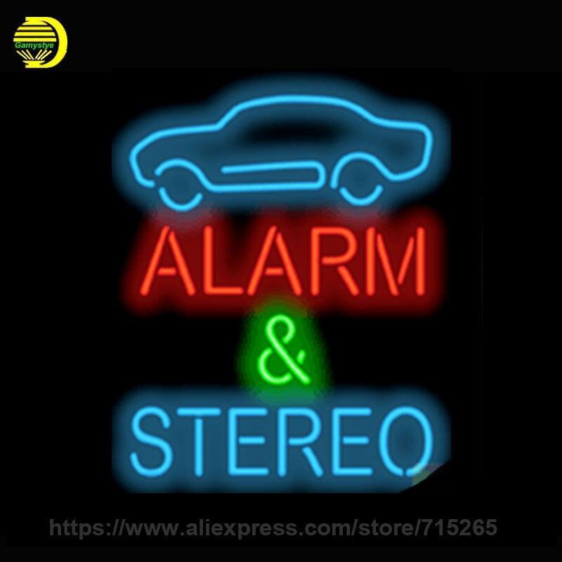 Neon Sign Alarm & Stereo Handmade Glass Tube Free Design Neon Bulbs Neon Light Sign Advertise Lamp Bright Store Display 30x24