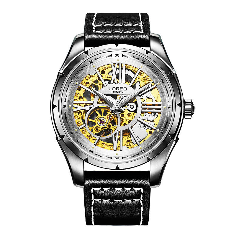 LOREO 8104 Germany watches military racing skeleton automatic mechanical sapphire glass hollow leather genuine luxury watch цены