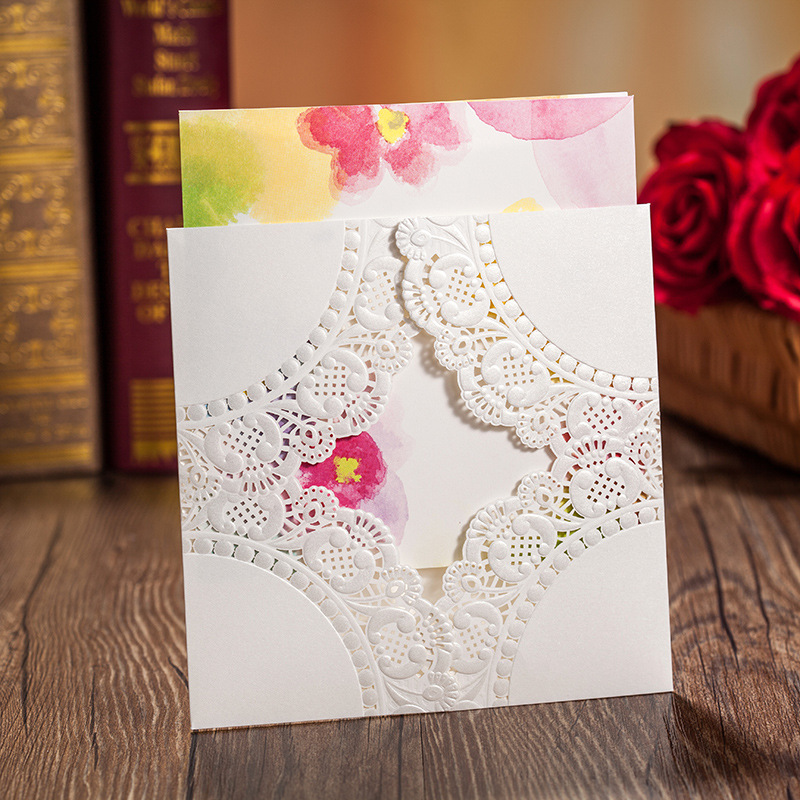 White Embossed Wedding Invitation Cards With Free Envelope ,3d Pop Up  Cards(China)