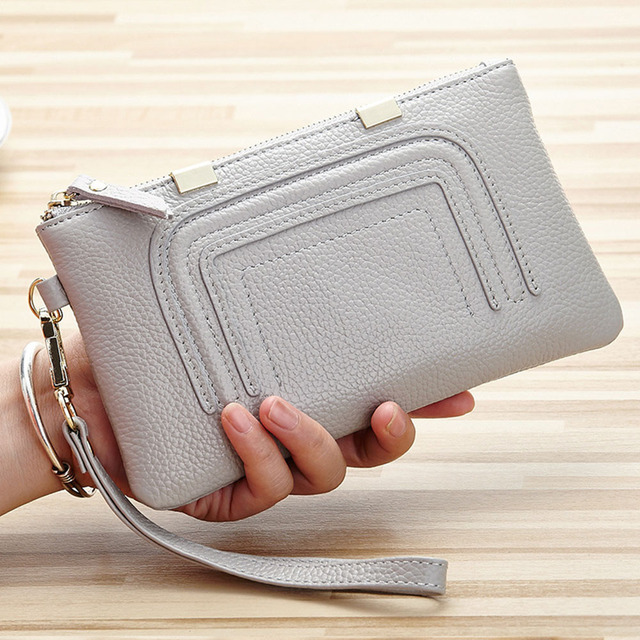2017 Genuine Cow Leather Women Clutch Bags Cowhide Envelope Organizer Purse Evening Party Handbags Ladies Small Wristlet Purses