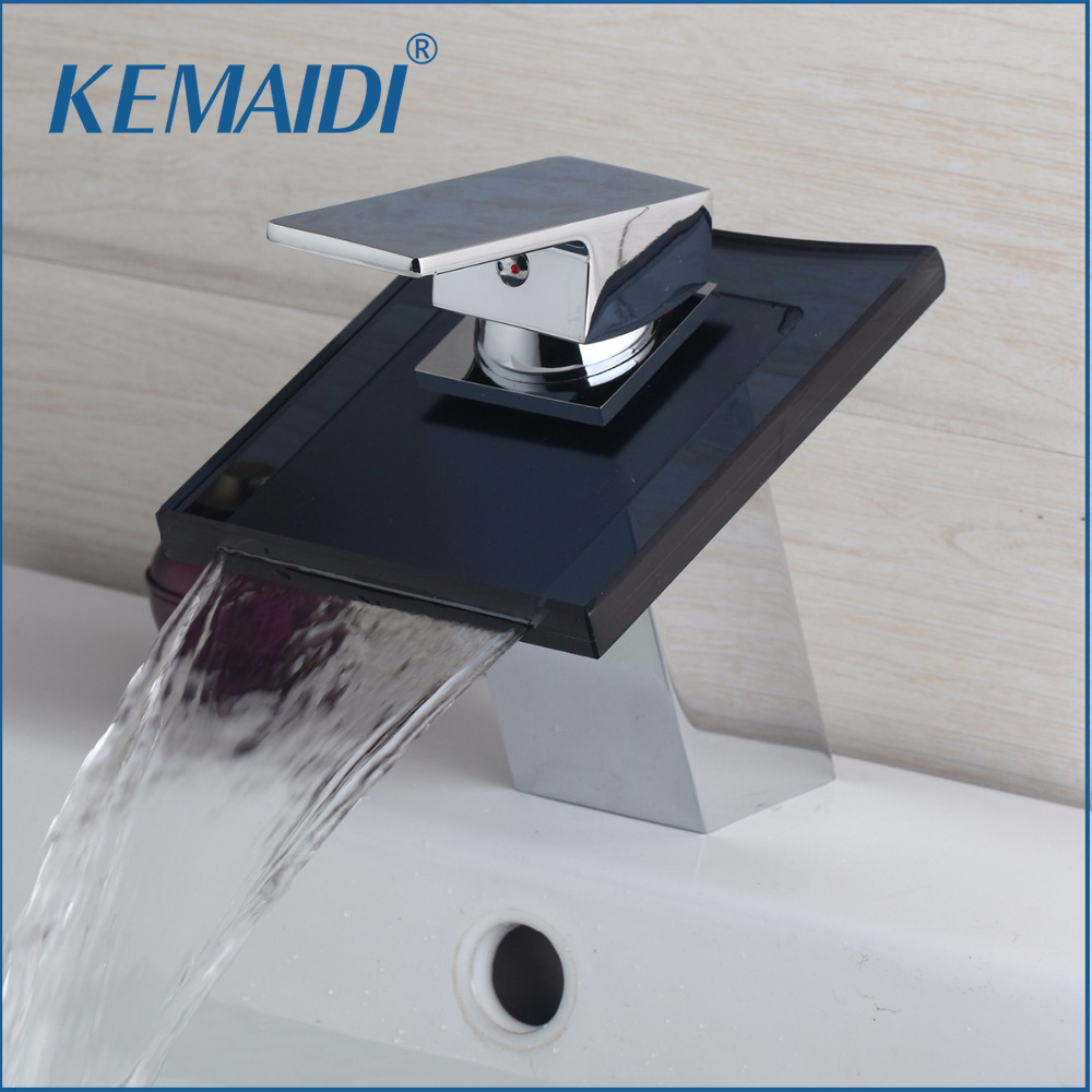 KEMAIDI New Wash Basin Single Handle Black Glass Waterfall Bathroom Chrome 8217 Deck Mount Sink Torneira Vessel Tap Mixer Faucet стоимость