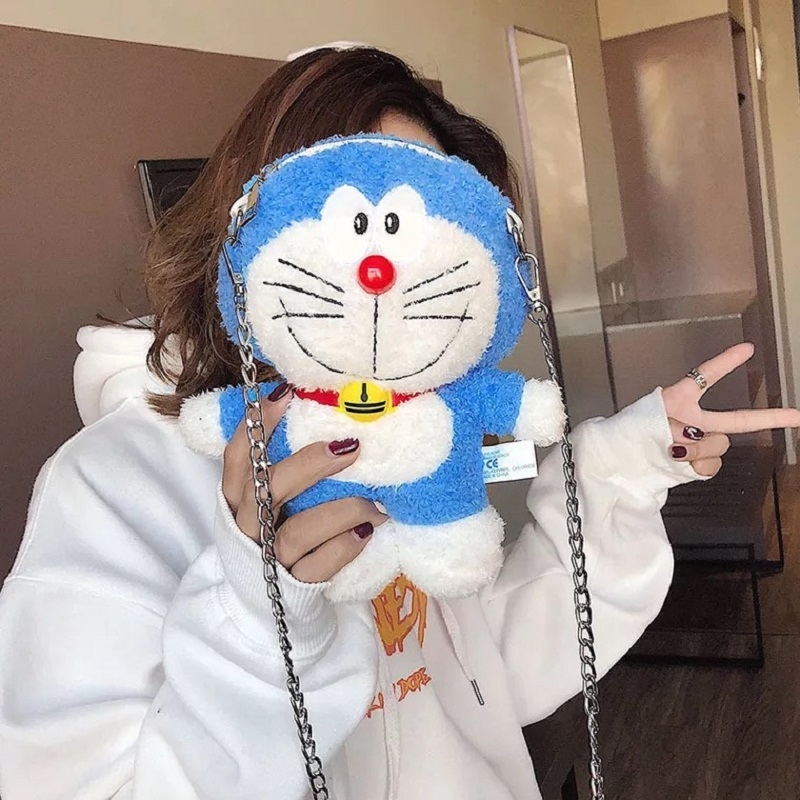 Clutch-Handbag Shoulder-Bags Jingle Crossbody Blue Women Fashion Doraemon Birthday-Gift
