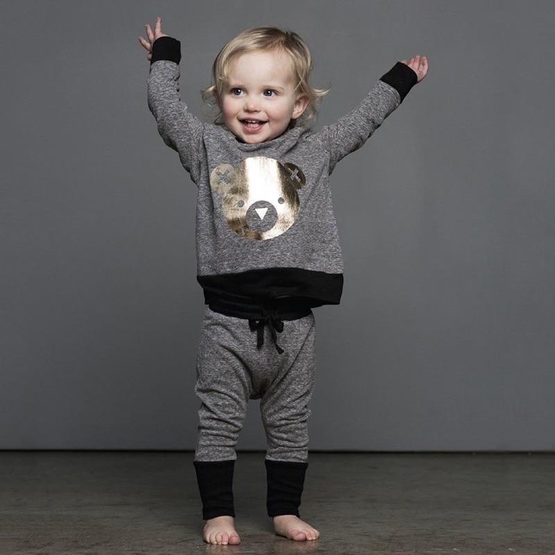 2pcs Baby Girls Boy Toddler Sweat Shirt Tops+Long Pants Trousers Outfits Set new
