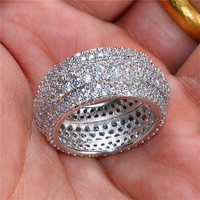 Luxury Shine Cocktail Wedding Rings For Women jewelry Real solid 925 Sterling Silver Pave 360 PCS SONA diamond stone ring finger