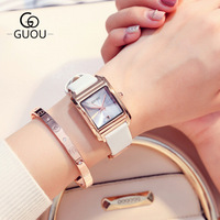 GUOU Brand Fashion simple Square dial Ladies Dress Waterproof Quartz Watch Women calendar multiple colour Leather Watch Hot Sale