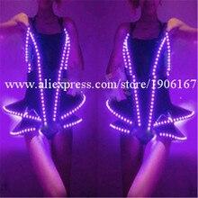 Лидер продаж led вечернее платье Для женщин костюм Костюмы световой Карнавал Сексуальный Костюм растет Одежда для танцев Бесплатная доставка