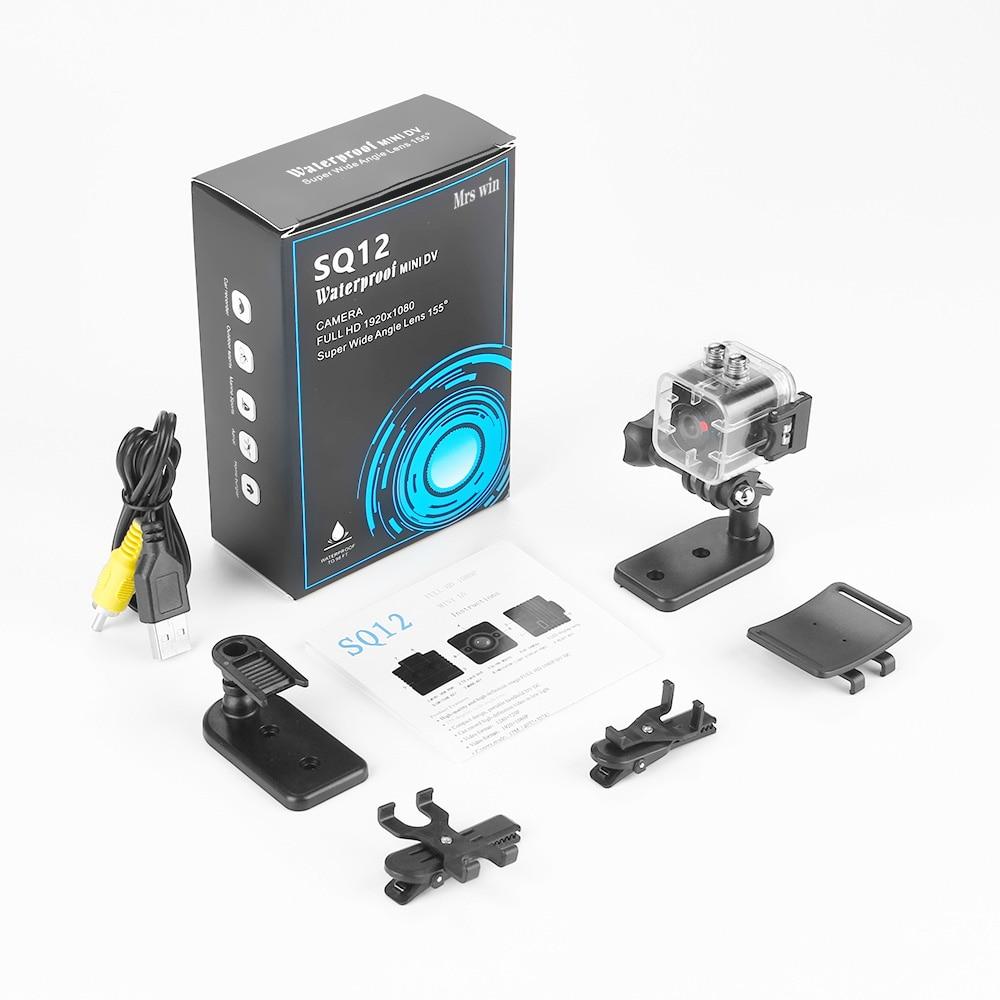 ET SQ12 Waterproof Mini Camera HD 1080P Video Recorder Digital Sports Camera Night Vision Detection Wide-Angle Camcorder VS SQ11