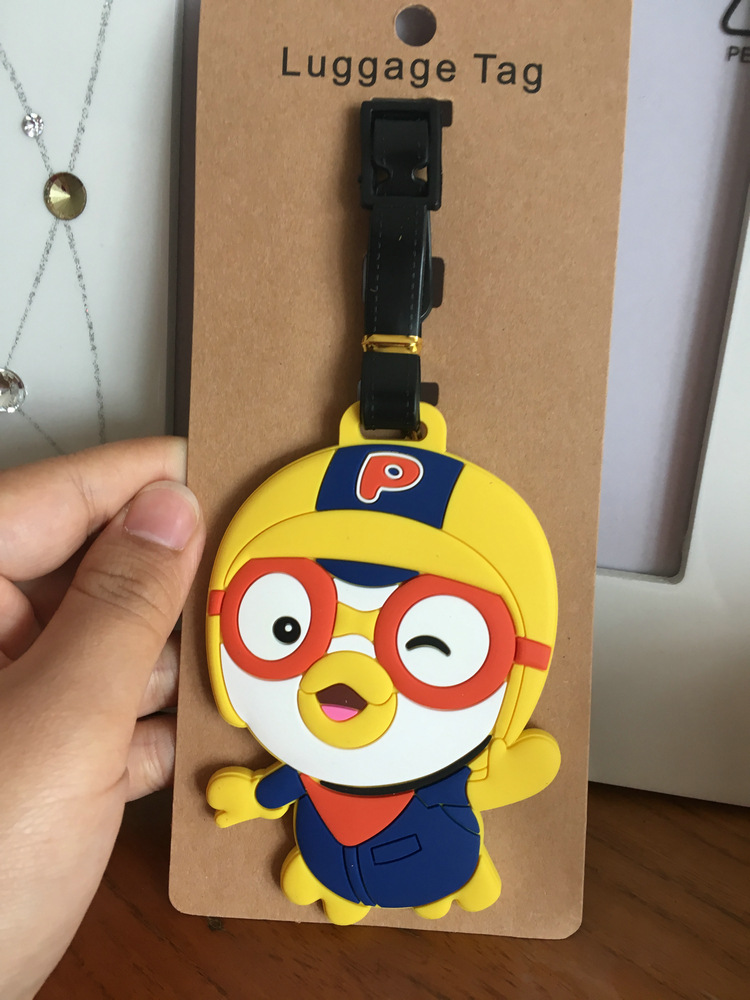 Yellow Penguin Anime Travel Accessories Luggage Tag Suitcase ID Address Portable Tags Holder Baggage Label Gifts New