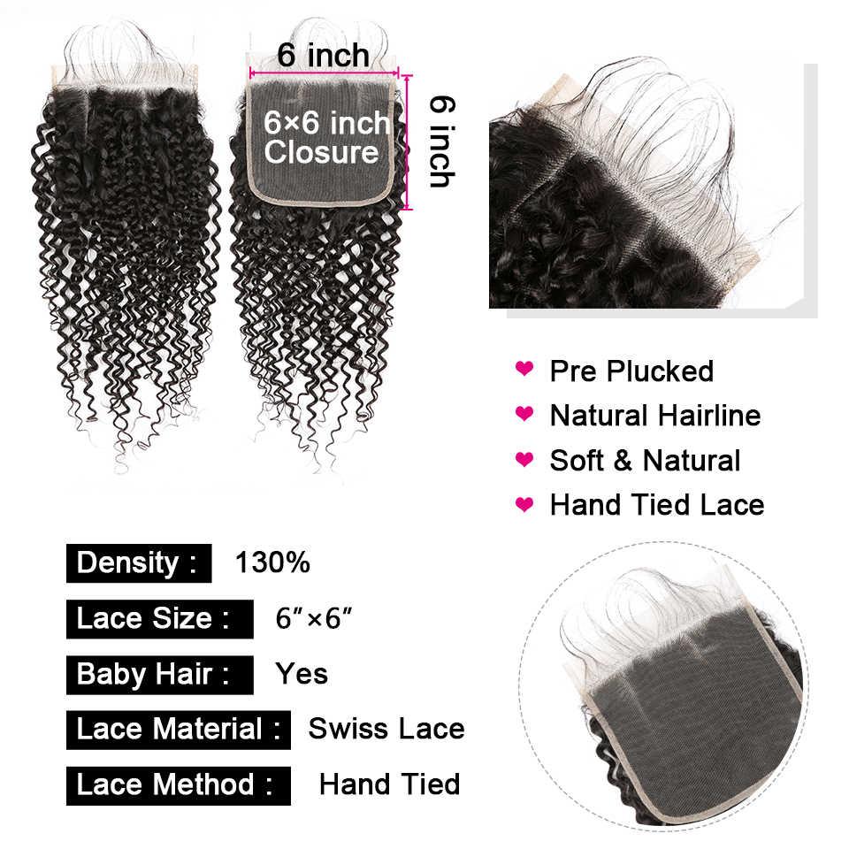 Yyong 6X6 Penutupan dengan Bundel Keriting Keriting 3/4 Bundel Rambut Manusia dengan Penutupan Peru Remy Rambut Bundel dengan renda Penutupan
