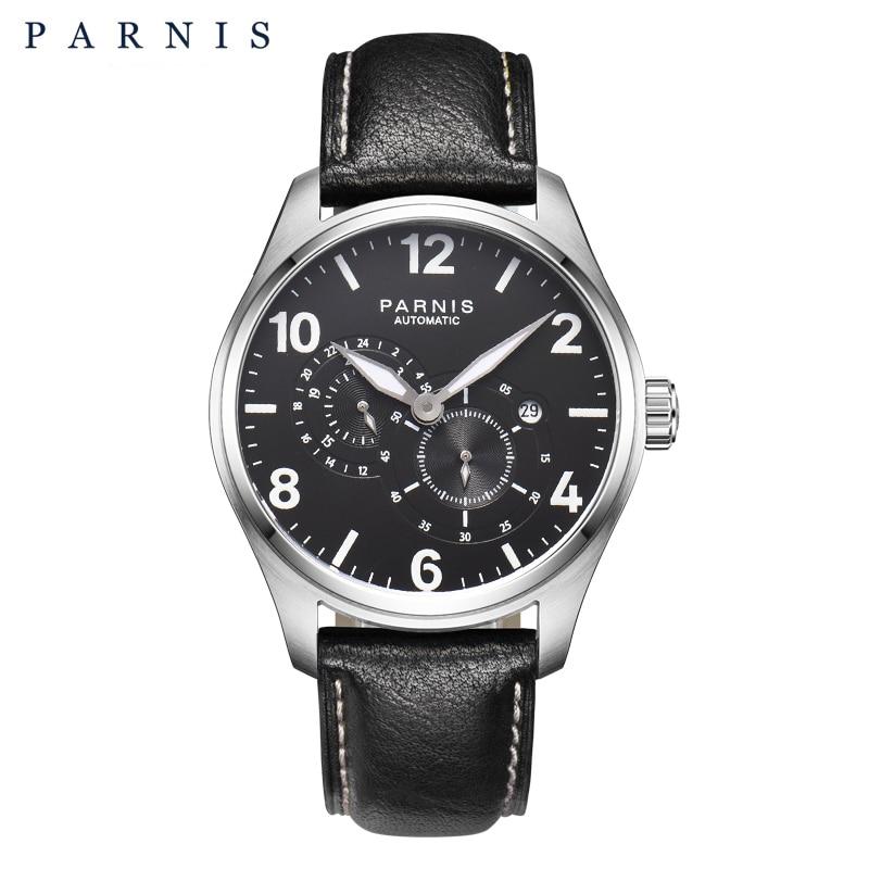 2017 Newly Issue Reloj automático Parnis Top cuero luminoso Mens - Relojes para hombres